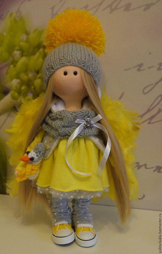 Коллекционные куклы ручной работы. Ярмарка Мастеров - ручная работа. Купить Текстильная куколка малышка Лимонный ангел. Handmade. Желтый