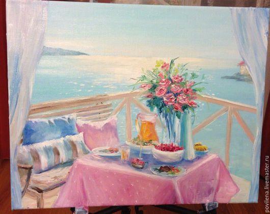 Пейзаж ручной работы. Ярмарка Мастеров - ручная работа. Купить картина С видом на море. Handmade. Бирюзовый, море