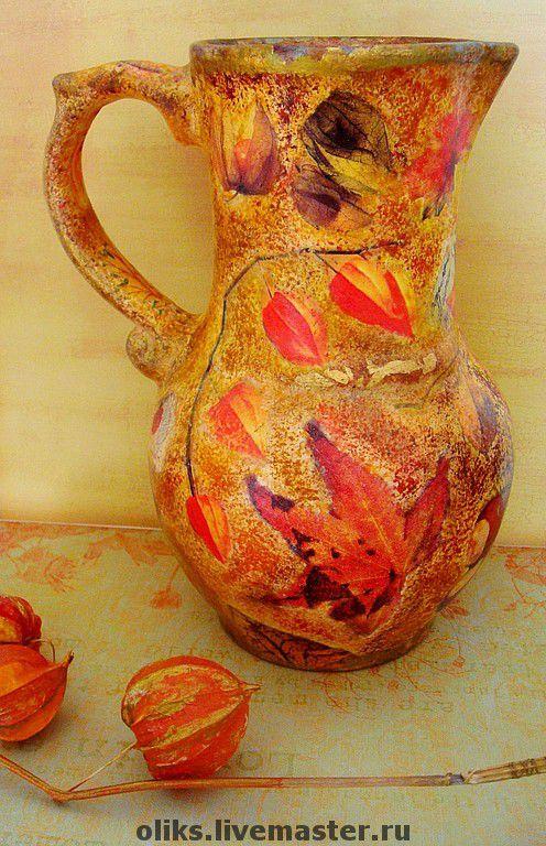 Kitchen handmade. Livemaster - handmade. Buy Ceramic pitcher Autumn.Kitchen, lacquer