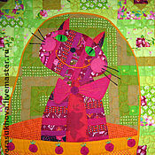 """Для дома и интерьера ручной работы. Ярмарка Мастеров - ручная работа """"Малиновая кошка""""лоскутное одеяло. Handmade."""