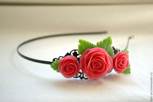 Диадемы, обручи ручной работы. Ярмарка Мастеров - ручная работа. Купить Ободок с Розами. Handmade. Розовый, розы, украшения для волос