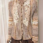Одежда ручной работы. Ярмарка Мастеров - ручная работа ::Жакет -ВИНТАЖ-ручного вязания с кружевом. Handmade.