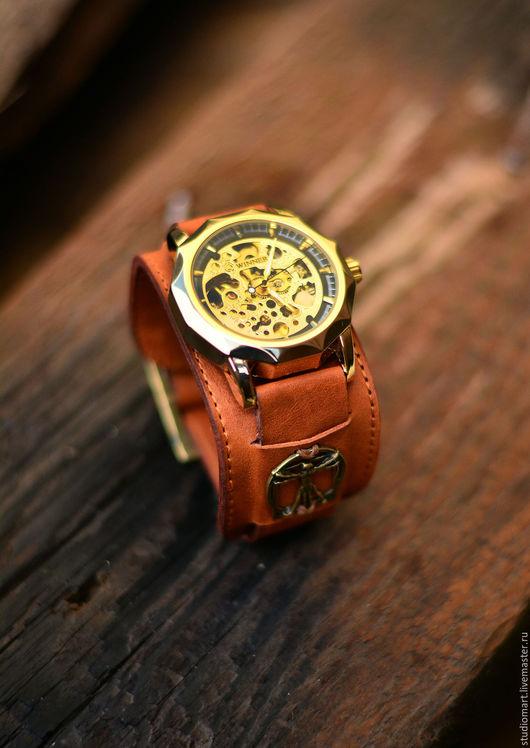 Часы ручной работы. Ярмарка Мастеров - ручная работа. Купить Наручные часы на широком браслете Vitruvian new. Handmade. Часы