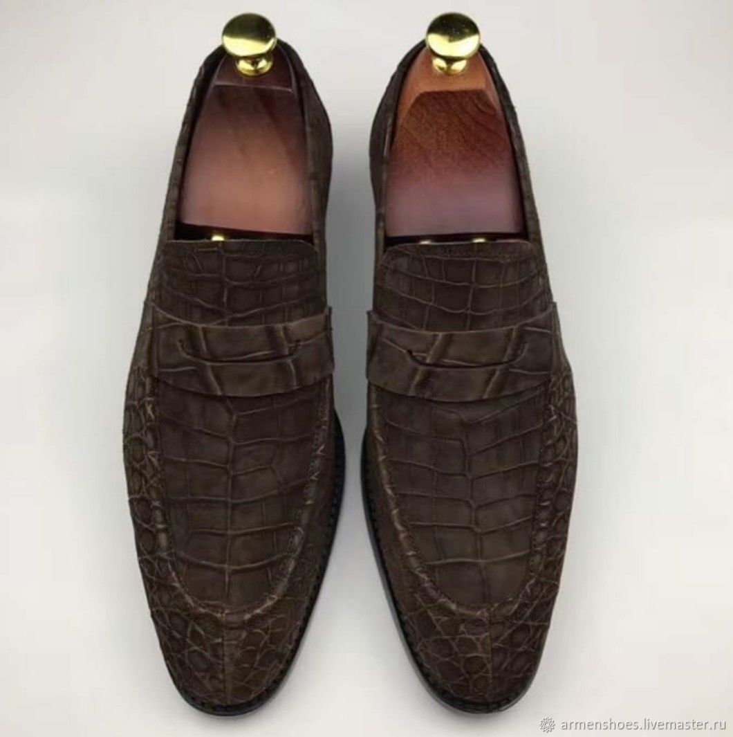 Trendy men's loafers, crocodile skin, tanning the leather, in brown color!, Loafers, Tosno,  Фото №1