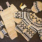 Работы для детей, ручной работы. Ярмарка Мастеров - ручная работа Костюмчик из собачьей шерсти и льна детский. Handmade.