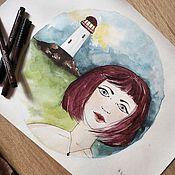 Картины и панно ручной работы. Ярмарка Мастеров - ручная работа Девочка живет на маяке. Handmade.