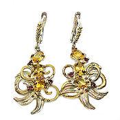 Украшения handmade. Livemaster - original item 925 sterling silver earrings with natural citrines and rhodolites. Handmade.
