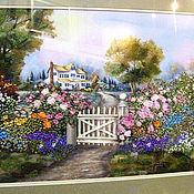 Картины и панно ручной работы. Ярмарка Мастеров - ручная работа вышитая картина  Сказочный пейзаж с калиткой, домиком и цветами. Handmade.