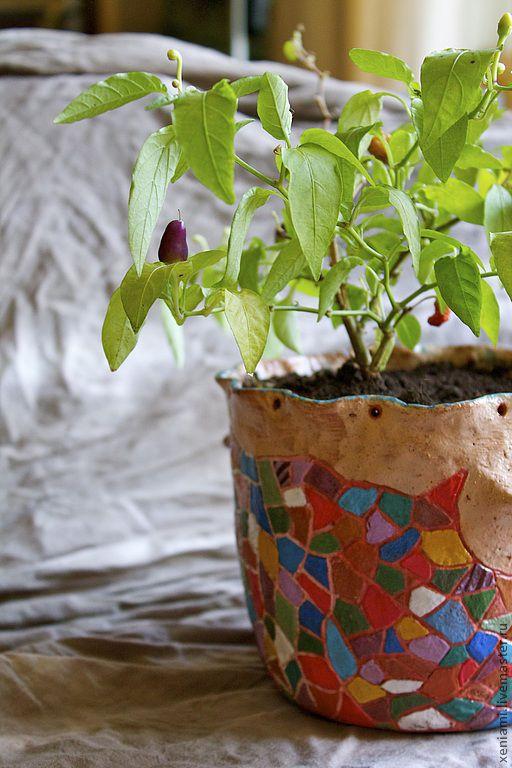 Экстерьер и дача ручной работы. Ярмарка Мастеров - ручная работа. Купить Горшок цветочный глиняный. Handmade. Глина, цветочный горшок