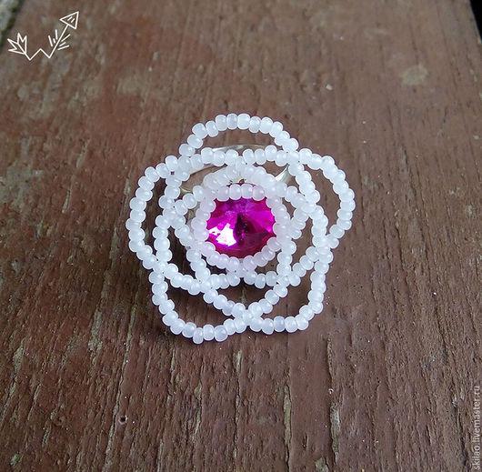 Кольца ручной работы. Ярмарка Мастеров - ручная работа. Купить Lilac blossom - кольцо из бисера. Handmade. Белый, паутина