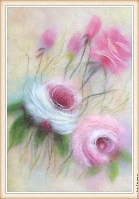 Картины цветов ручной работы. Ярмарка Мастеров - ручная работа. Купить Нежные розы. Handmade. Комбинированный, шерсть 100%