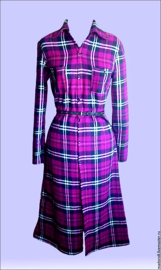 Платья ручной работы. Ярмарка Мастеров - ручная работа. Купить Платье-рубашка. Handmade. Бордовый, шотландка, платье летнее