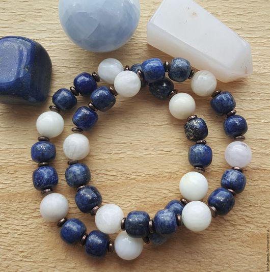 Браслеты из лазурита, лунного камня и перламутра