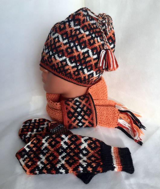Этническая одежда ручной работы. Ярмарка Мастеров - ручная работа. Купить Комплект зимний (шапка, варежки, шарф). Handmade.