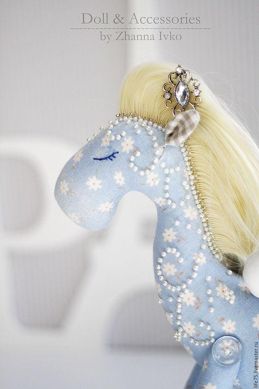 """Куклы Тильды ручной работы. Ярмарка Мастеров - ручная работа. Купить Лошадка """"в морозном узоре"""". Handmade. Голубой"""