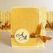 Свадебный салон ручной работы. Ярмарка Мастеров - ручная работа Приглашения на свадьбу в золотой гамме. Handmade.