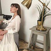 Платья ручной работы. Ярмарка Мастеров - ручная работа Шёлковый халат для утра невесты. Белый пеньюар , будуарное платье. Handmade.