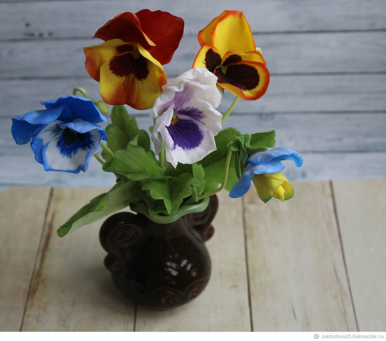 Анютины глазки (виола) из холодного фарфора, Цветы, Балашиха,  Фото №1