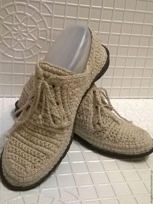 Обувь ручной работы. Ярмарка Мастеров - ручная работа. Купить Мокасины льняные. Handmade. Бежевый, вязаная обувь