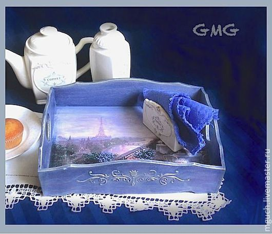 """Кухня ручной работы. Ярмарка Мастеров - ручная работа. Купить Поднос """"Утро в Париже"""". Handmade. Тёмно-синий, для чаепития"""