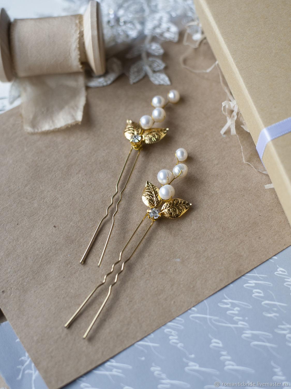 Свадебные украшения ручной работы. Ярмарка Мастеров - ручная работа. Купить Шпилька для прически с жемчугом и золотыми листиками. Handmade.