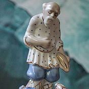 Винтаж handmade. Livemaster - original item Vintage statuette of the USSR porcelain old Man and goldfish. Handmade.