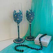 """Свадебный салон ручной работы. Ярмарка Мастеров - ручная работа Свадебные бокалы """"Королевская бирюза"""". Handmade."""