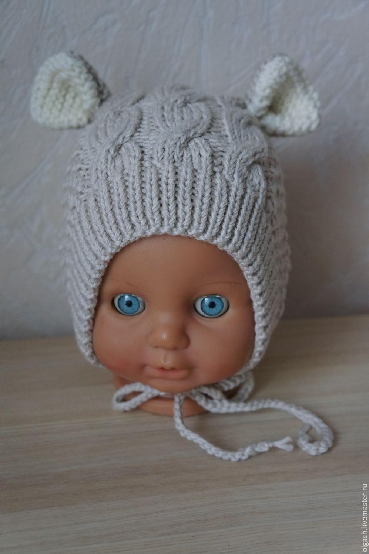 Вязание шапочки с ушками для новорожденного мальчика 60