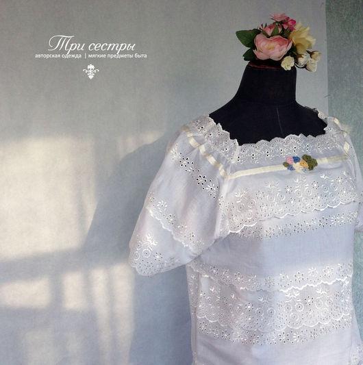 """Блузки ручной работы. Ярмарка Мастеров - ручная работа. Купить Блуза """"С букетиком"""". Handmade. Белый, винтажный стиль, лето"""