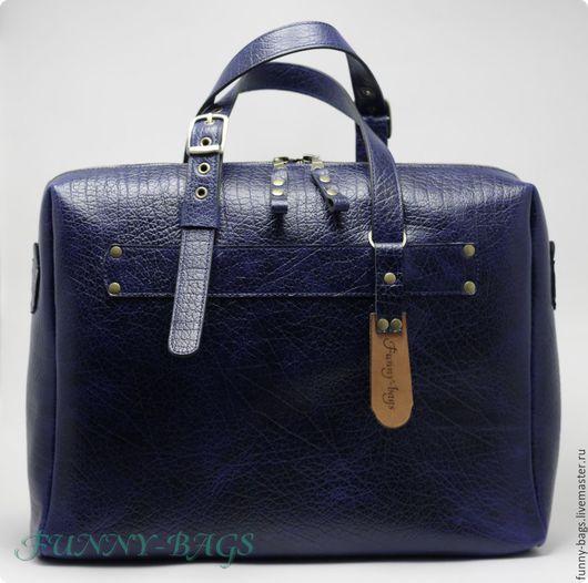 Мужские сумки ручной работы. Ярмарка Мастеров - ручная работа. Купить Большая мужская- кожаная сумка. Handmade. Тёмно-синий