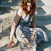 Одежда ручной работы. Ярмарка Мастеров - ручная работа Платье льняное вышитое шелком Коралл. Handmade.