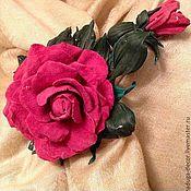 """Украшения ручной работы. Ярмарка Мастеров - ручная работа Кожаная брошь""""Роза с росой"""". Handmade."""