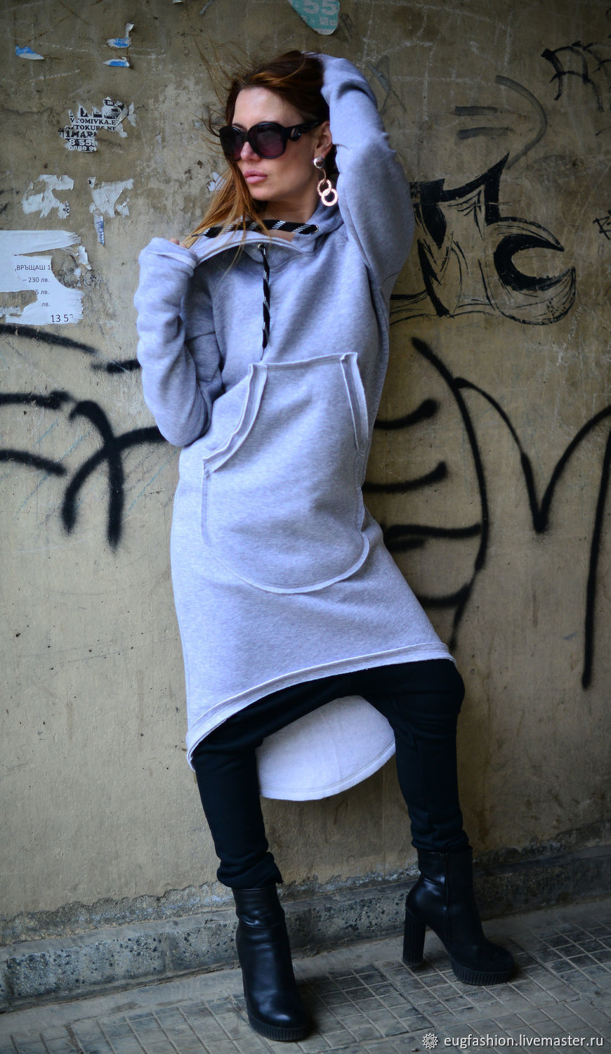 Warm, grey tunic with a hood for spring - DR0707W3, Dresses, Sofia,  Фото №1