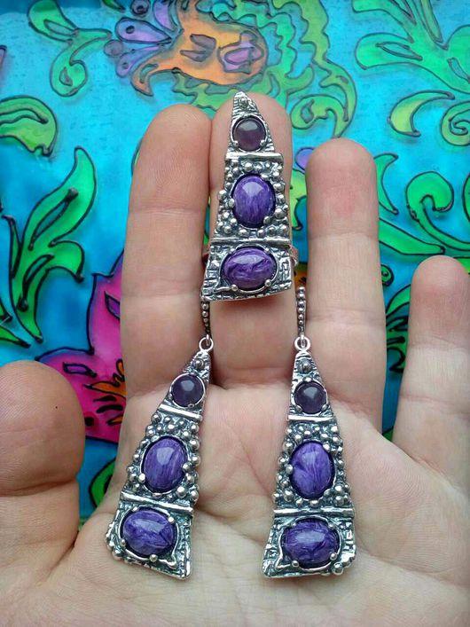 Комплекты украшений ручной работы. Ярмарка Мастеров - ручная работа. Купить 231 Комплект серебрение серьги и кольцо с камнями. Handmade.