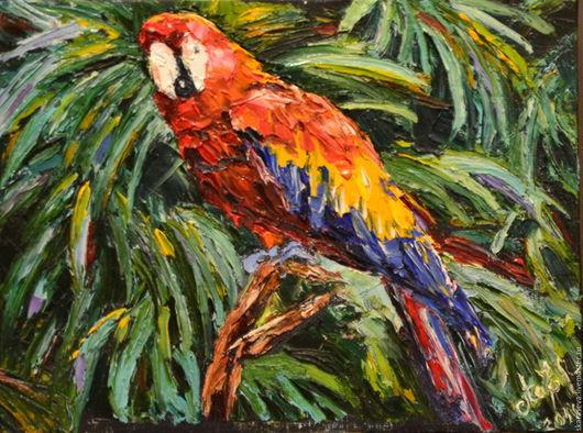 """Животные ручной работы. Ярмарка Мастеров - ручная работа. Купить """"Попугай"""". Handmade. Комбинированный, картина маслом, птички, яркая картина"""