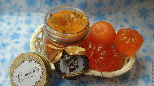 Мыло ручной работы. Ярмарка Мастеров - ручная работа. Купить МАНДАРИНОВОЕ НАСТРОЕНИЕ///набор мыла с апельсиновой свечой. Handmade. Оранжевый