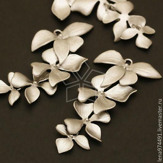 """Для украшений ручной работы. Ярмарка Мастеров - ручная работа. Купить Коннектор  """"  орхидея"""" -сер. Handmade."""