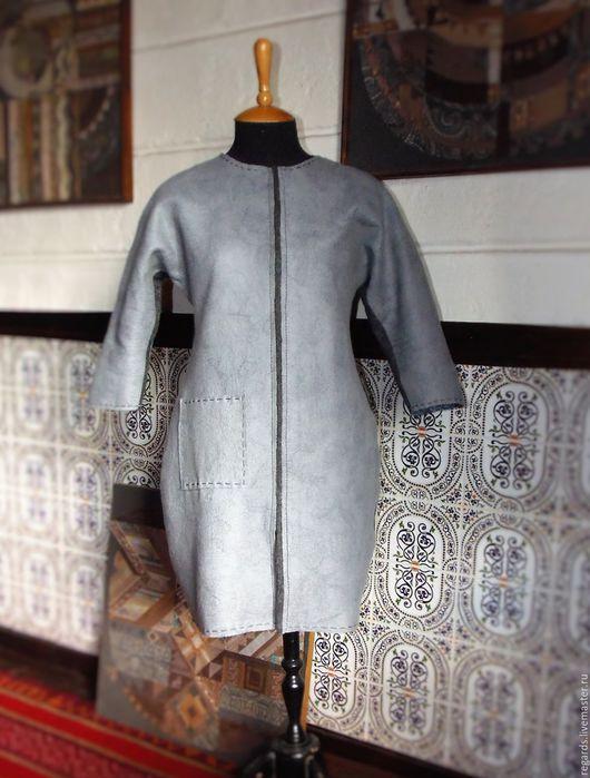Верхняя одежда ручной работы. Ярмарка Мастеров - ручная работа. Купить Лёгкое пальто.. Handmade. Серый, пальто на молнии, одежда