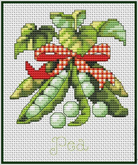 Вышивка ручной работы. Ярмарка Мастеров - ручная работа. Купить Схема для вышивки крестом «КУХНЯ. Овощи. Горошек». Handmade. овощи