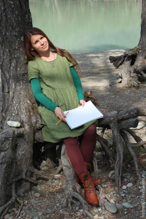"""Платья ручной работы. Ярмарка Мастеров - ручная работа. Купить Платье из мини коллекции """"Простые вещи"""". Handmade. Зеленый"""