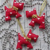 Куклы и игрушки ручной работы. Ярмарка Мастеров - ручная работа Елочная игрушка -Собачка. Handmade.