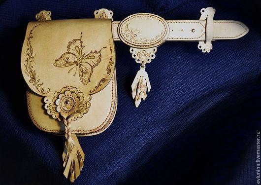 """Женские сумки ручной работы. Ярмарка Мастеров - ручная работа. Купить кожаная сумка на ремне""""Махаон"""". Handmade. Бежевый, поясная сумка"""