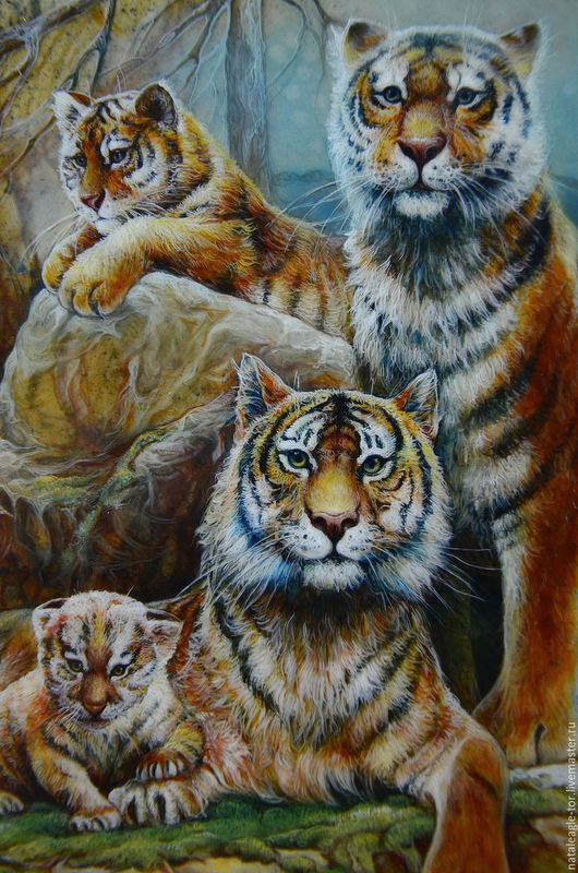 Животные ручной работы. Ярмарка Мастеров - ручная работа. Купить О,Тигр!  панно из яшмы (семейный оберег). Handmade. Комбинированный