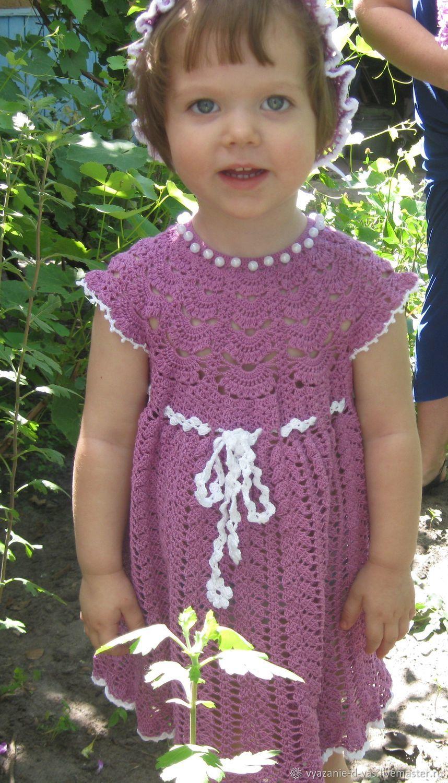 Одежда для девочек, ручной работы. Ярмарка Мастеров - ручная работа. Купить Платье вязаное крючком  для девочки нарядное хлопок лен лето. Handmade.