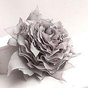 Украшения handmade. Livemaster - original item Brooch hair clip with fabric flower. Grey fancy flower. Handmade.