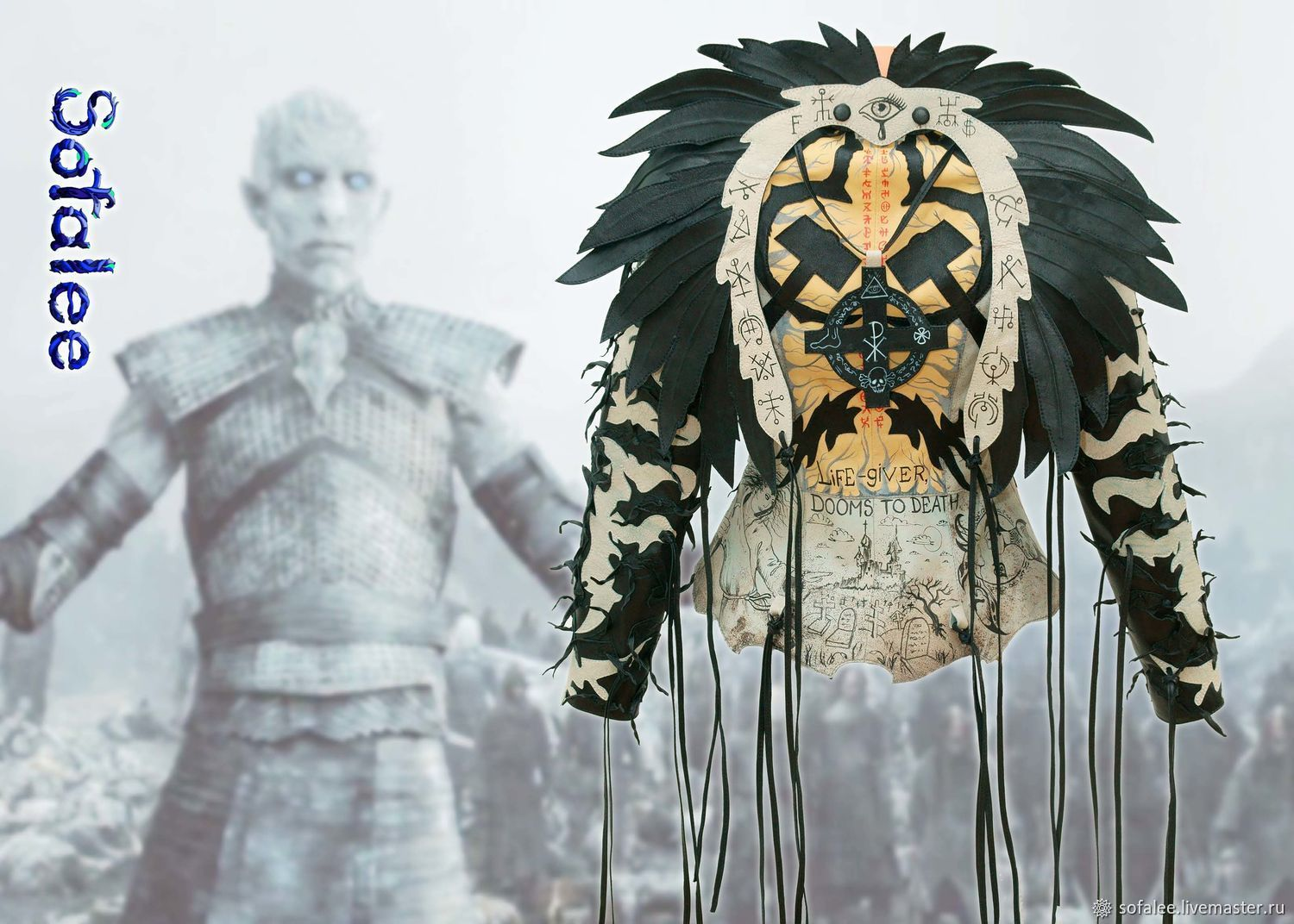 Jacket made of genuine leather with painting, fringe and wings, Outerwear Jackets, Moscow,  Фото №1