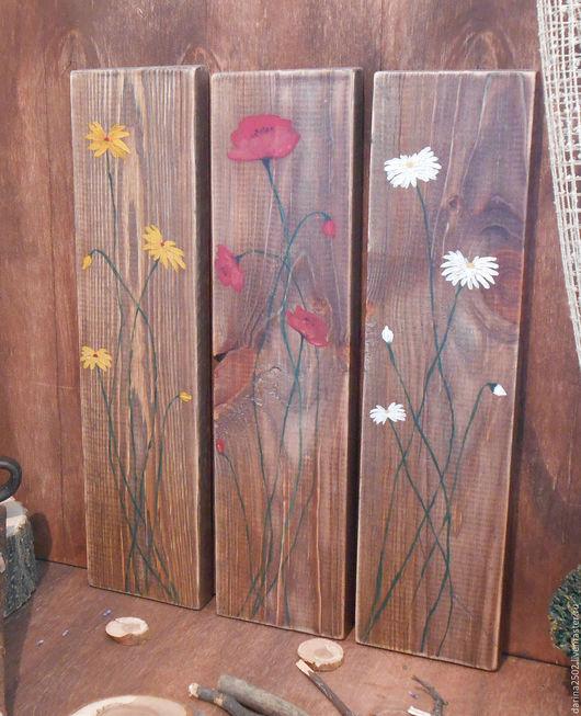 Декоративное панно(триптих) на сосновых досках. Рисунок акриловыми красками. Интерьер в стиле кантри.
