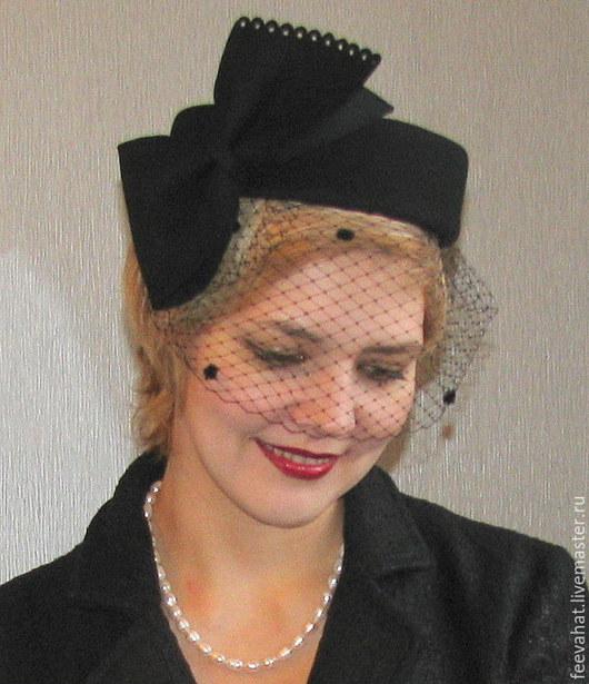 Шляпы ручной работы. Ярмарка Мастеров - ручная работа. Купить Шляпка таблетка черная с бантом и вуалью. Handmade. Черный