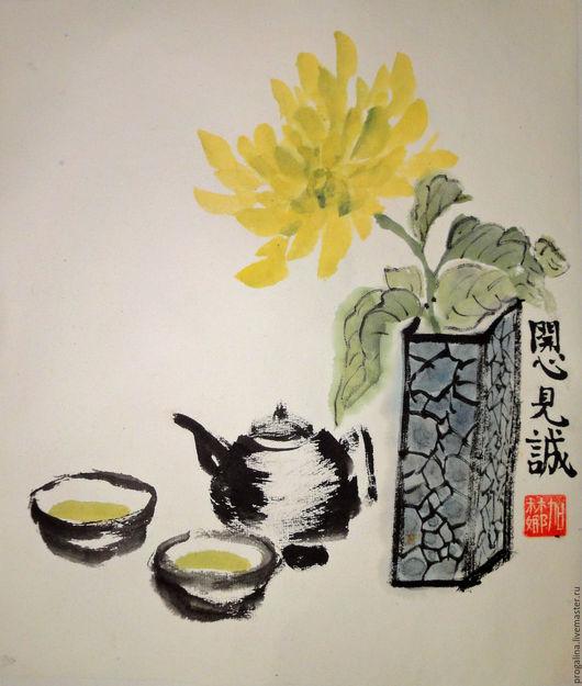 Натюрморт ручной работы. Ярмарка Мастеров - ручная работа. Купить Осеннее чаепитие. Handmade. Китайская живопись, хризантема, ваза, желтый