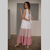Одежда handmade. Livemaster - original item Gradient linen dress with pink wings. Handmade.